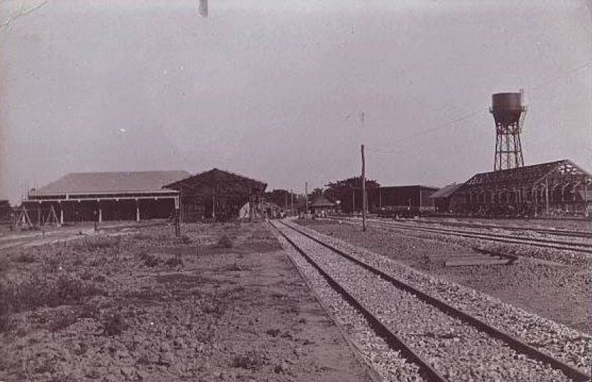 The back of the first Chiang Mai railway station with tracks and watertower