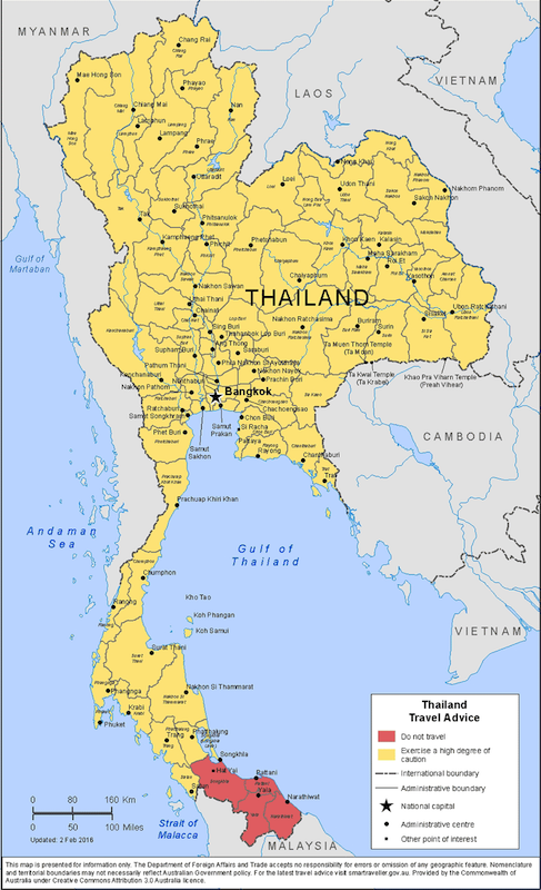Thailand map with travel advice of the government of Austrailia