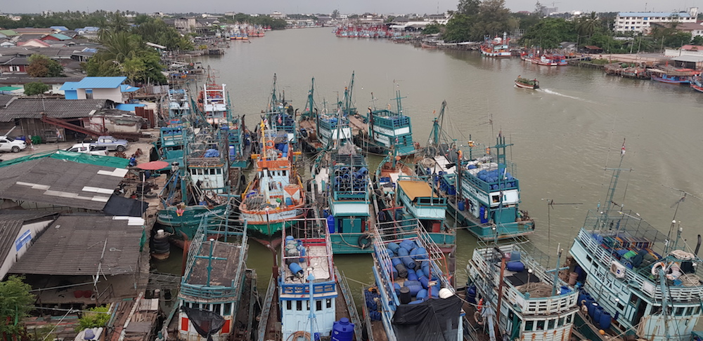 fishing boats in the port of Pattani