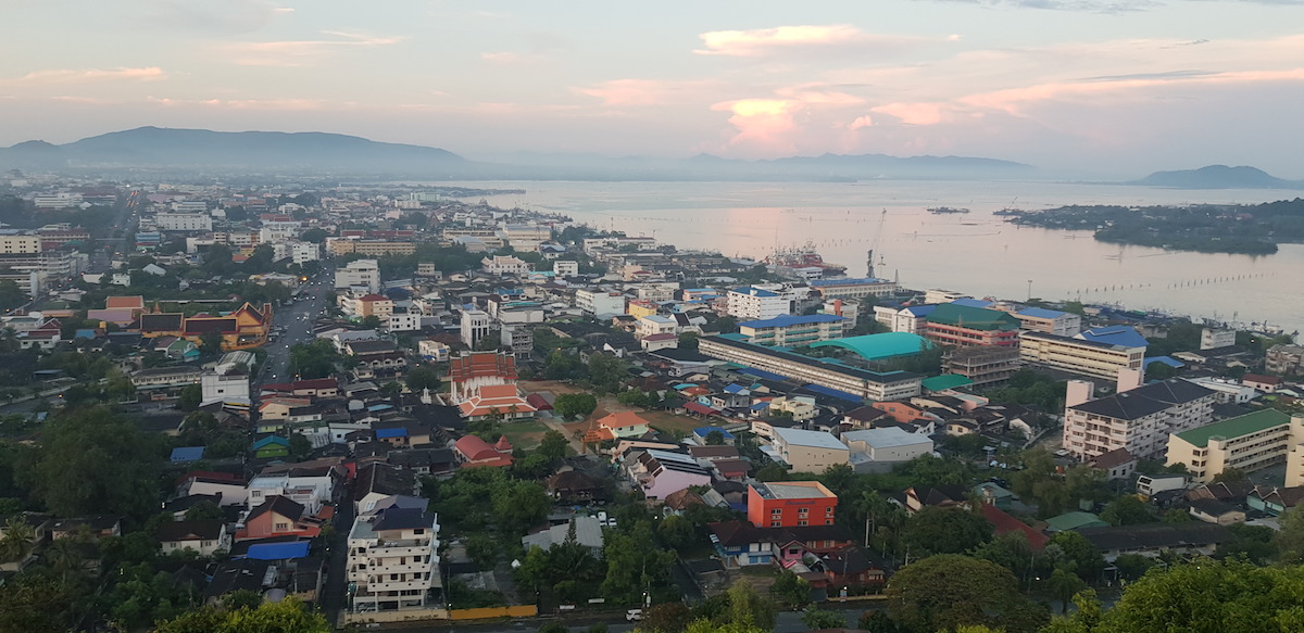 Songkhla in the morning picture taken from Tangkuan Hill