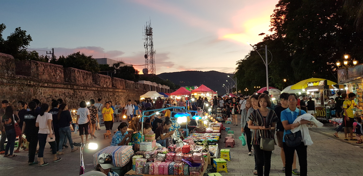 Old Citywall and Walking Street of Songkhla in the early evening