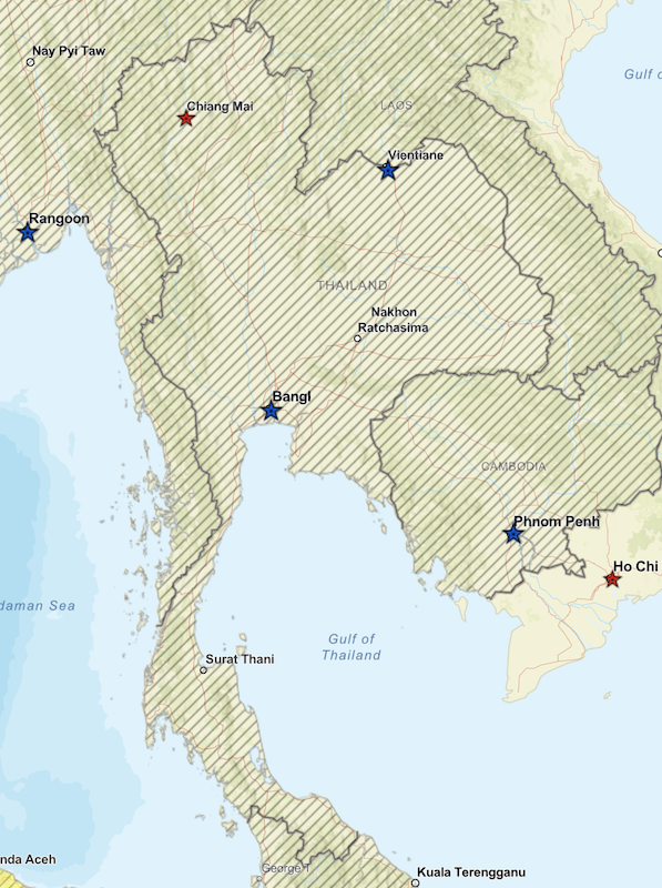 Thailand map with travel advice of the US government
