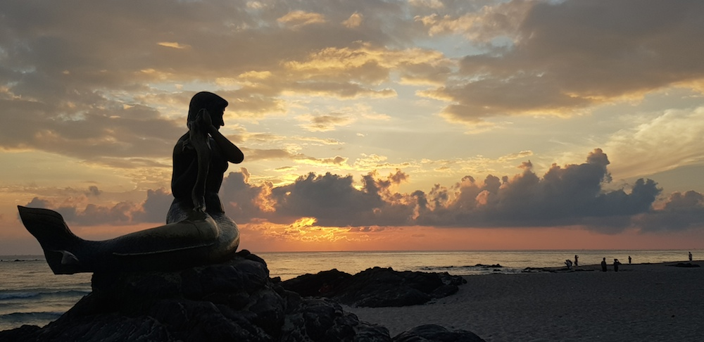 Statue of Mermaid on Samila Beach, Songkhla