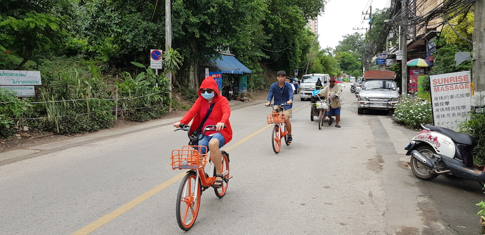 Chinese tourists on rental bikes in Chiang Mai