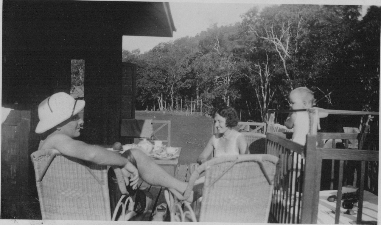 Evelyn, Kathleen and Adrian van Millingen in a BBTC forest bungalow on Doi Pui