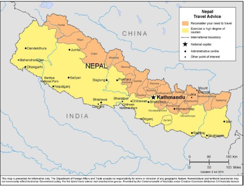 Australia Travel Advisory for Nepal