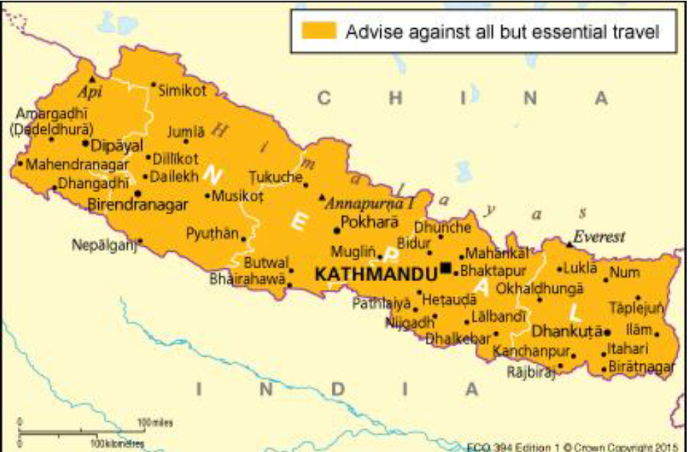 map of Austria Travel Advisory for Nepal earthquake